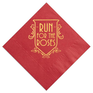 Personalized Lipstick Red Cocktail Napkin with Shiny 18 Kt Gold Foil has a Crest Regal 2 graphic and is good for use in Frames, Wedding themed parties and will give your party the personalized touch every host desires.