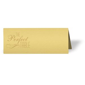 The ever-popular Poptone Mimosa Runway Place Card with Satin 18 Kt. Gold Foil has a Flourish 18 graphic and couldn't be more perfect. It's time to show off your impeccable taste.