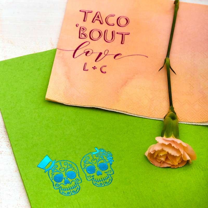 taco bout love wedding cocktail napkin
