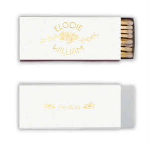 Our custom Linen White Classic Matchbox with Shiny 18 Kt Gold Foil Color has a Peony Flourish 2 graphic and a HandWreathRSVP graphic and is good for use in Lovely Press themed parties and can't be beat. Showcase your style in every detail of your party's theme!