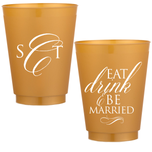 Personalized Gold 16 oz Frost Flex Color Cup with Matte White Ink Cup Ink Colors has a Flourish 18 graphic and can be personalized to match your party's exact theme and tempo.