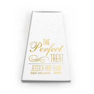 Custom Shiny 18 Kt Gold Cake Box with Shiny 18 Kt Gold Foil has a Flourish graphic and can be customized to complement every last detail of your party.
