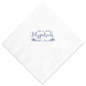 ForYourParty's personalized Royal Blue Cocktail Napkin with Matte White Foil Color has a HandWreathRSVP graphic and is good for use in Lovely Press themed parties and will make your guests swoon. Personalize your party's theme today.
