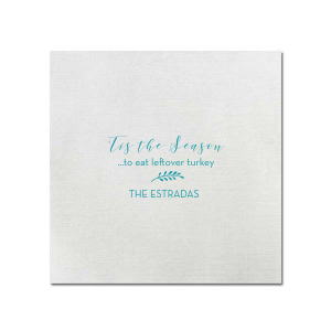 ForYourParty's elegant Teal Dinner Napkin with Matte White Foil will give your party the personalized touch every host desires.