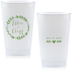 Perfect for a greenery themed wedding, these customizable cups feature Moss print color and our Leaf Wreath frame. Add your names and date for a personalized party favor your guests will use and love.