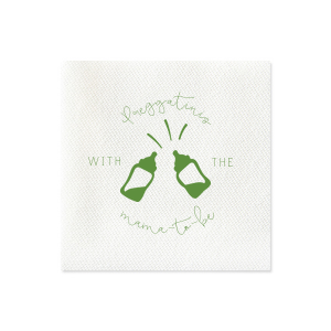 ForYourParty's elegant Moss Green Cocktail Napkin with Matte White Foil Color has a Baby Bottles graphic and is good for use in Baby Shower themed parties and can't be beat. Showcase your style in every detail of your party's theme!