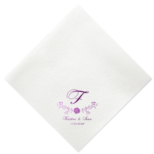 Custom Pastel Pink Linen Like Cocktail Napkin with Shiny Amethyst Foil has a Floral Vine graphic and is good for use in Wedding and Garden Party themed parties and will add that special attention to detail that cannot be overlooked.