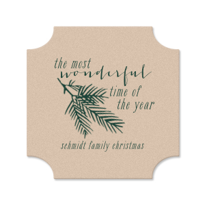 Our beautiful custom Kraft with Blush back Nouveau Coaster with Matte Spruce Foil Color has a Pine graphic and is good for use in Floral themed parties and will add that special attention to detail that cannot be overlooked.