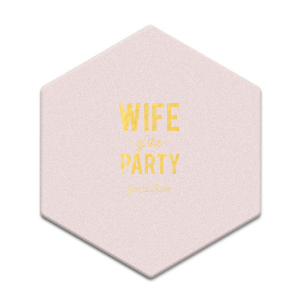 The ever-popular Eggshell Square Coaster with Shiny 18 Kt Gold Foil Color can be customized to complement every last detail of your party.