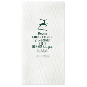 Custom Hunter Green Linen Like Dinner Napkin with Satin Sterling Silver Imprint Foil Color has a Stag graphic and is good for use in Winter and Holiday themed parties and are a must-have for your next event—whatever the celebration!