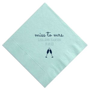 Our personalized Aqua Cocktail Napkin with Matte Navy Foil Color has a Flutes 2 graphic and is good for use in Drinks, Wedding, Holiday themed parties and will impress guests like no other. Make this party unforgettable.