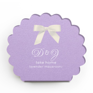 Our custom Stardream Lavender Truffle Box with Matte White Foil will make your guests swoon. Personalize your party's theme today.