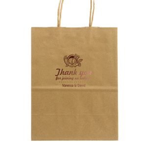 Our custom Kraft Brown Lunch Bag with Shiny Merlot Foil has a Thanksgiving graphic and is good for use in Holiday themed parties and can be personalized to match your party's exact theme and tempo.