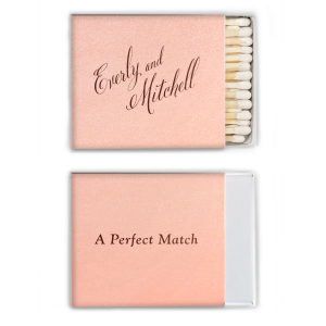 Our beautiful custom Stardream Ballet Pink Classic Matchbox with Shiny Merlot Foil will make your guests swoon. Personalize your party's theme today.