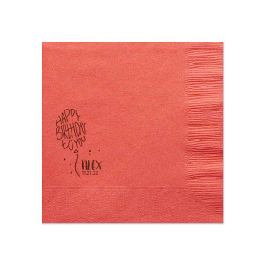 ForYourParty's chic Coral Cocktail Napkin with Shiny Merlot Foil has a Birthday Balloon graphic and is good for use in  Kid Birthday themed parties and can be personalized to match your party's exact theme and tempo.