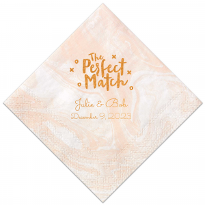 ForYourParty's chic Marble Blush Cocktail Napkin with Shiny Copper Foil has a Perfect Match graphic and is good for use in Words, Calligraphy, Wedding themed parties and will look fabulous with your unique touch. Your guests will agree!