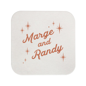 Our personalized Eggshell Square Coaster with Satin Copper Penny Foil will give your party the personalized touch every host desires.