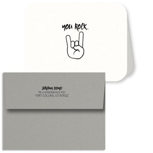 ForYourParty's classic Strathmore White Classic Note Card with Envelope with Matte Black Foil has a Rock N' Roll graphic and is good for use in Trendy themed parties and will give your party the personalized touch every host desires.
