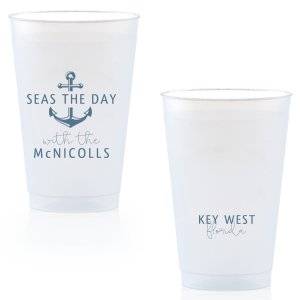ForYourParty's personalized Matte Stone Blue Ink 16 oz Frost Flex Cup with Matte Stone Blue Ink Cup Ink Colors has a Anchor Frame graphic and is good for use in Travel, Beach/Nautical, Father's Day themed parties and will add that special attention to detail that cannot be overlooked.