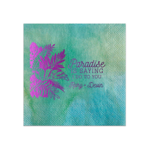 The ever-popular Watercolor Sea Glass Cocktail Napkin with Shiny Amethyst Foil has a Full Bleed Tropical Leaves graphic and is good for use in Full Bleed themed parties and can be customized to complement every last detail of your party.