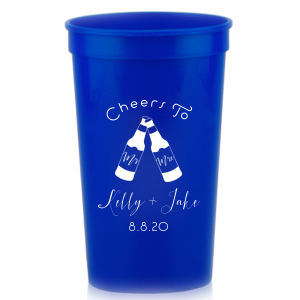Our custom Royal Blue 32 oz Stadium Cup with Matte White Ink Cup Ink Colors has a Mr & Mrs Bottles graphic and is good for use in Wedding, Drinks themed parties and couldn't be more perfect. It's time to show off your impeccable taste.