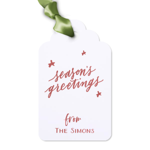 Personalized Natural Frost White Luggage Gift Tag with Shiny Rose Quartz Foil has a Season's Greetings graphic and is good for use in Words, Holiday, Christmas themed parties and will give your party the personalized touch every host desires.
