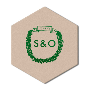Personalize this coaster for a cute and memorable touch to the bar at your greenery themed wedding. Our Banner Wreath graphic lets you feature both your date and initials—or newly shared last name!