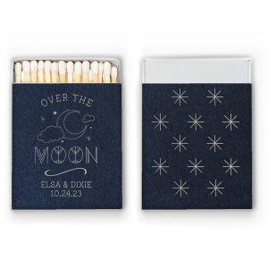 Our personalized Stardream Navy Classic Matchbox with Shiny Sterling Silver Foil has a Night Sky graphic and a Aztec Pattern graphic and is great addition to any stylish celebration, including Weddings, Anniversaries and Baby Showers. A must-have for your next event—whatever the celebration!