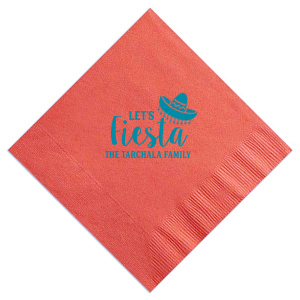 ForYourParty's personalized Coral Cocktail Napkin with Shiny Turquoise Foil has a Sombrero graphic and is good for use in Southwestern, Fashion, Trendy themed parties and will give your party the personalized touch every host desires.