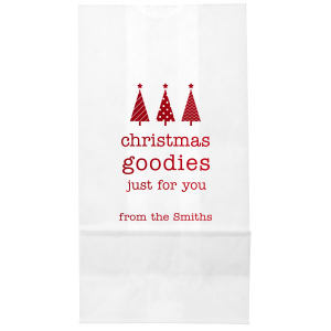 Custom Shiny Convertible Red Large Cellophane Bag with Shiny Convertible Red Foil has a 3 Trees graphic and is good for use in Christmas themed parties and can't be beat. Showcase your style in every detail of your party's theme!