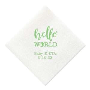 ForYourParty's personalized Royal Blue Cocktail Napkin with Matte Key Lime Foil Color has a Hello World graphic and is good for use in Words themed parties and will make your guests swoon. Personalize your party's theme today.