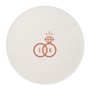"Diamond Ring Initials - Round Coasters - Personalized - Set of 75 - 4 x 4"""" by ForYourParty.com"