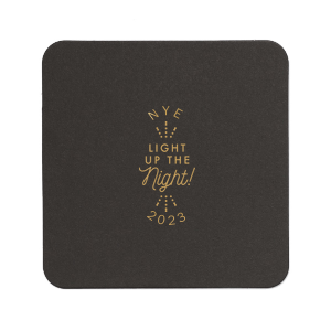 Our custom Eggshell Square Coaster with Satin 18 Kt. Gold Foil Color has a Light the Night graphic and is good for use in Wedding themed parties and will give your party the personalized touch every host desires.