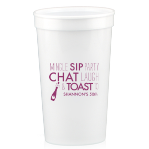 Personalized White 16 oz Stadium Cup with Matte Plum Ink Cup Ink Colors has a Bubbly graphic and is good for use in Drinks, Wedding themed parties and can be personalized to match your party's exact theme and tempo.