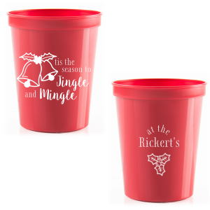 Custom Gold 16 oz Stadium Cup with Matte White Ink Ink Color has a Holiday Bells graphic and a Holly graphic and is good for use in Holiday, Christmas themed parties and will impress guests like no other. Make this party unforgettable.