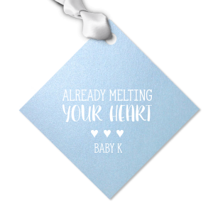 Our custom Stardream Sky Blue Heart Gift Tag with Matte White Foil Color can be customized to complement every last detail of your party.