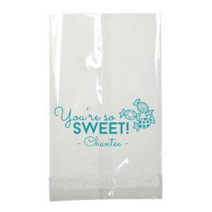 Our custom White Party Bag with Matte Teal/Peacock Foil has a Candy graphic and is good for use in Kid Birthday, Food, Birthday themed parties and will add that special attention to detail that cannot be overlooked.