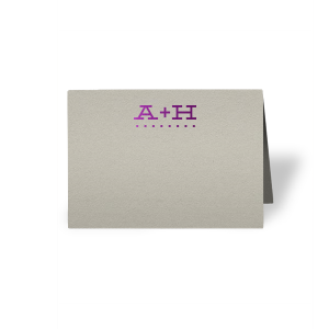 Our beautiful custom Natural Gray Cordial Place Card with Shiny Amethyst Foil will give your party the personalized touch every host desires.