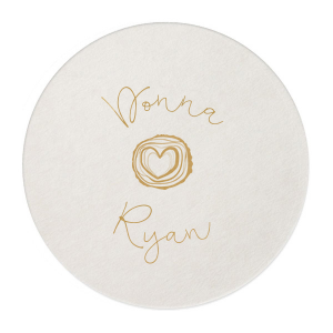 Create a bar favorite with custom coasters! Pair the happy couple's names with our Tree Heart graphic for a seamless detail in your forest or greenery theme. Fitting for an engagement party, couple's shower or wedding reception.