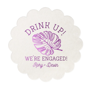 ForYourParty's personalized White Square Coaster with Shiny Amethyst Foil has a Palm Leaf graphic and is good for use in Organic, Floral, Trendy themed parties and can't be beat. Showcase your style in every detail of your party's theme!