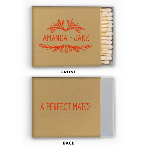 Our custom Kraft 30 Strike Matchbook with Shiny Turquoise Foil has a Rustic Leaf Frame graphic and is good for use in Frames, Accents, Wedding themed parties and couldn't be more perfect. It's time to show off your impeccable taste.