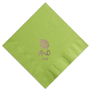 ForYourParty's chic Pistachio Luncheon Napkin with Shiny Amethyst Foil has a Palm Leaf graphic and is good for use in Organic, Floral, Trendy themed parties and will add that special attention to detail that cannot be overlooked.