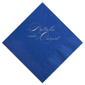 Custom Royal Blue Cocktail Napkin with Satin Sterling Silver Foil will impress guests like no other. Make this party unforgettable.