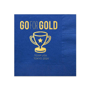 ForYourParty's personalized Royal Blue Cocktail Napkin with Shiny 18 Kt Gold Foil has a Trophy graphic and is good for use in Sports themed parties and are a must-have for your next event—whatever the celebration!