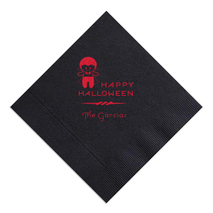 The ever-popular Black Cocktail Napkin with Satin Lipstick Red Foil has a Dracula graphic and is good for use in Halloween themed parties and can't be beat. Showcase your style in every detail of your party's theme!