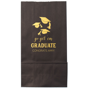 ForYourParty's chic Black Goodie Bag with Shiny 18 Kt Gold Foil has a Caps Thrown graphic and is good for use in Graduation themed parties and will impress guests like no other. Make this party unforgettable.
