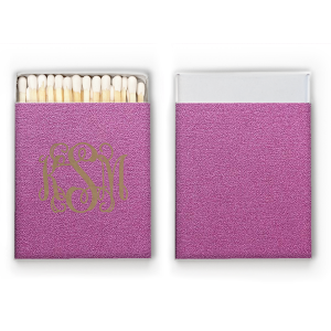 Our custom Stardream Plum Barrel Matchbox with Matte Dove Grey Foil Color can be personalized to match your party's exact theme and tempo.