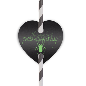 Our custom Natural Black Double Point Straw Tag with Matte Key Lime Foil has a Spider graphic and is good for use in Halloween themed parties and can't be beat. Showcase your style in every detail of your party's theme!