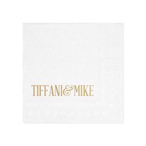 Custom White Cocktail Napkin with Satin 18 Kt. Gold Foil will look fabulous with your unique touch. Your guests will agree!