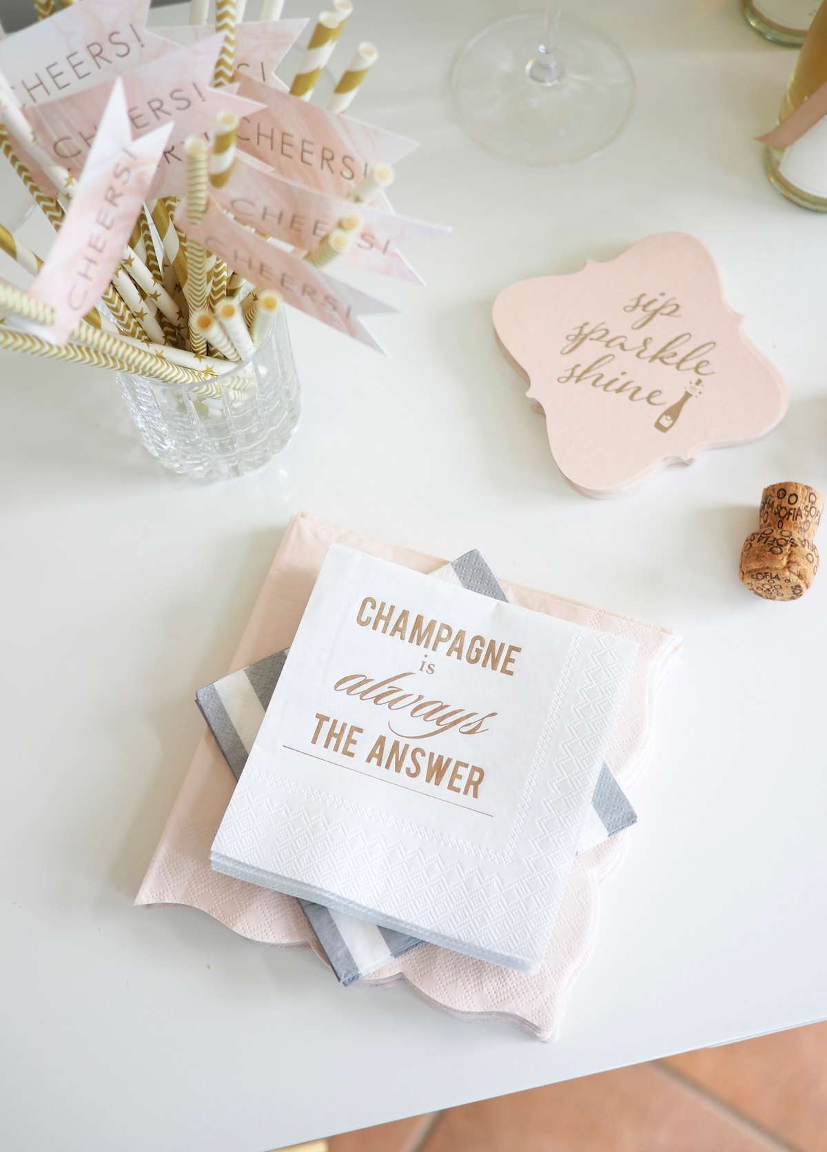 personalized shimmer cocktail napkins